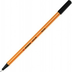Ручка капиллярная 0,4мм Stabilo, желтый с белой полосой корпус, колпачек, цвет чёрный