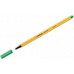 Ручка капиллярная 0,4мм Stabilo, желтый с белой полосой корпус, колпачек, цвет зеленый