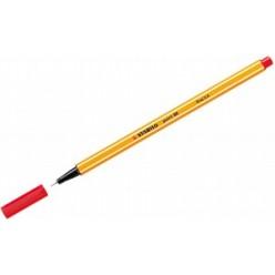 Ручка капиллярная 0,4мм Stabilo, желтый с белой полосой корпус, колпачек, цвет красный