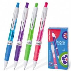 Ручка авт шарик EK Fiore, 0.7мм, корпус тонир белый/голубой, резин/наклад, клип, СИНИЙ