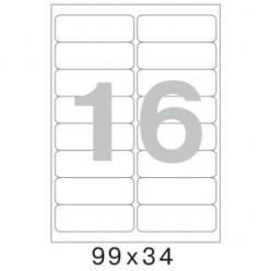 Этикетки самоклеящиеся белые А4 099,0х034,0мм, 16шт на листе, 100 листов/уп