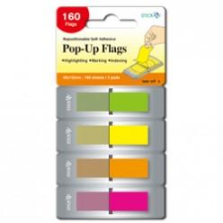 Закладки 45*12мм, 4цв*40л, пластик, POP-UP (ZZ-сложение) (26017)