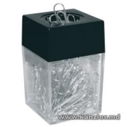 Диспенсер для скрепок магнитный + 100 металлических  скрепок, квадратный, черный