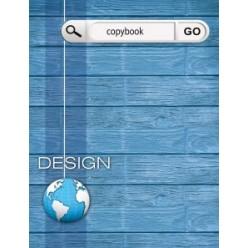 Тетрадь А5, 100л, клетка, кольца, обл 7БЦ, офсет, сменный блок, Синий дизайн