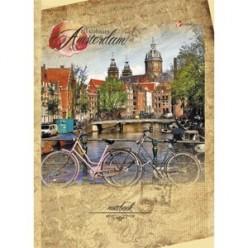 Тетрадь А5, 160л, клетка, кольца, обл 7БЦ, офсет, сменный блок, Путешествие по Амстердаму