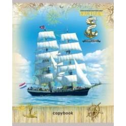 Тетрадь А5, 048л, клетка, скрепка, обл картон, офсет,  тиснение, Красивые корабли