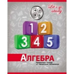 Тетрадь А5, 036л, клетка, скрепка, обл картон, офсет, Серебро.Алгебра