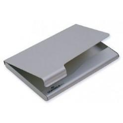 Визитница-футляр на 020 карт, металл, серебристая